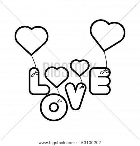 lettering love hearts hanging outline vector illustration eps 10