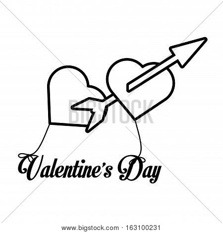 happy valentines day card arrow hanging hearts outline vector illustration eps 10