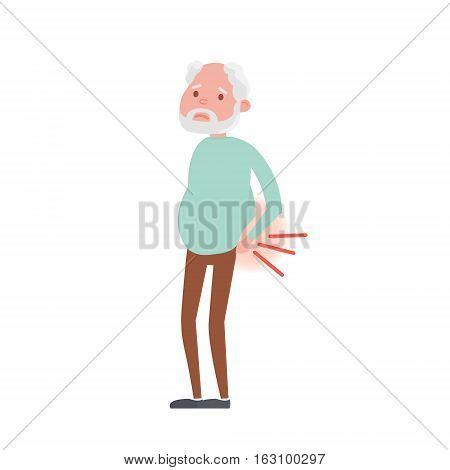 Illustration of backache in Senior man. Vector Illustration