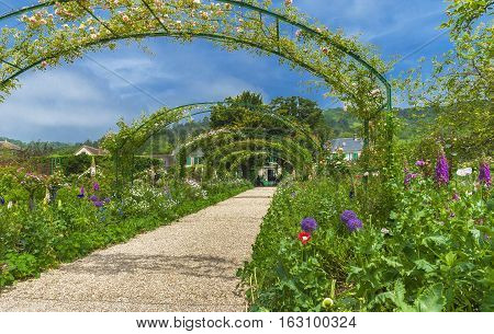 Giverny, France - June 2016: In the park in Claude Monet estate  on a sunny day