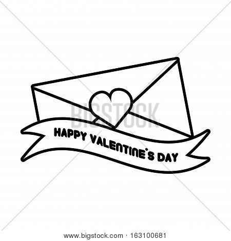happy valentines day card envelope ribbon heart outline vector illustration eps 10