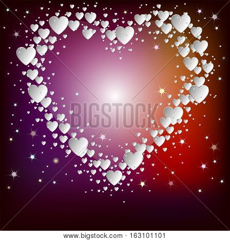 Design of white hearts on red, purple background with place for text