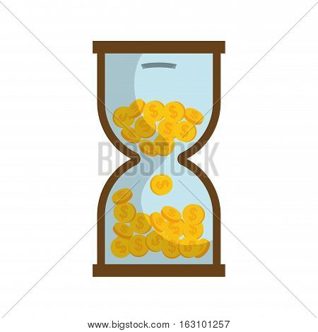 Coins in time hourglass icon vector illustration graphic design