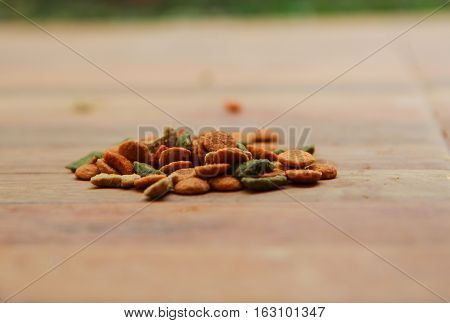 Dog food on the ground, old tone