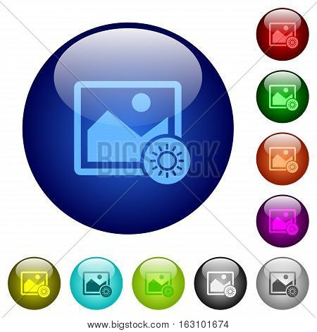 Adjust image brightness icons on round color glass buttons