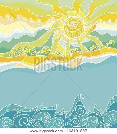 decorative vector illustration of summer sea shore