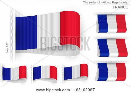 National state flag of France; Sewn clothing label tag; Vector icon set flags of French Republic; Eps10