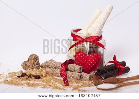 chocolate and a cookie as a delicacy and decorations