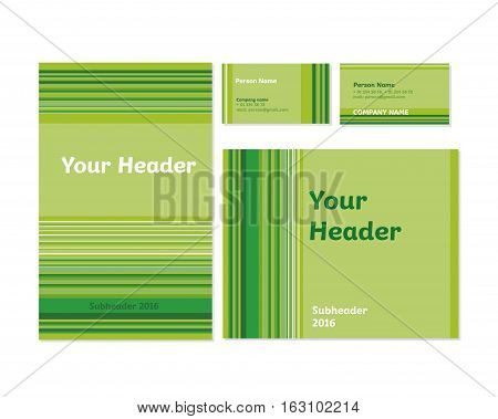 green bamboo stripe vector stationary template set