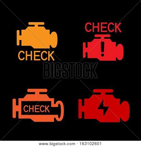 Engine check icon. Car control panel interface isolated on black background. Auto motor sign