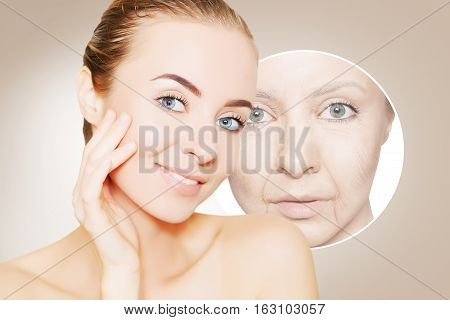 portrait of woman face with graphic circles of old skin for advertising