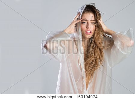 Pretty Girl In Sexy Raincoat
