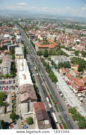 Areal view of Skopje down town from a helicopter poster