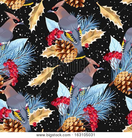 Waxwing, pine and rowan vector seamless background