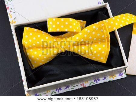 Yellow Bow Tie In A Present Box