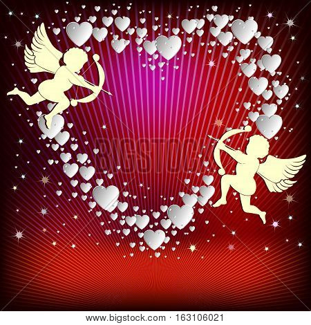 Design of white hearts on red, purple background with cupids and place for text