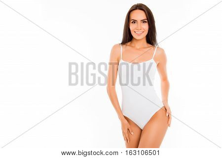 Pretty Happy Young Woman In White Swimsuit On White Background