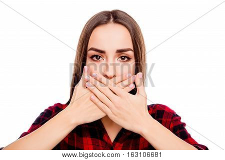 Calm Woman Making Tabu Gesture And Covering Mouth With Hands