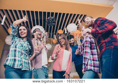 Party Time. Six Attractive Happy Laughing Friends, Boys And Girls, Dancing And Having Fun Unity