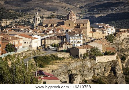 a view of Cantavieja town, province of Teruel, Aragon, Spain