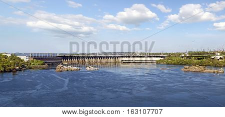 Dneproges - largest hydroelectric power station on the Dnieper River. Zaporozhye. Ukraine