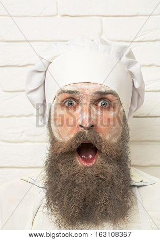 Man With Flour On Face
