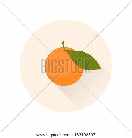 Mandarin flat icon. Chinese symbol of abundance and happiness. Vector illustration.