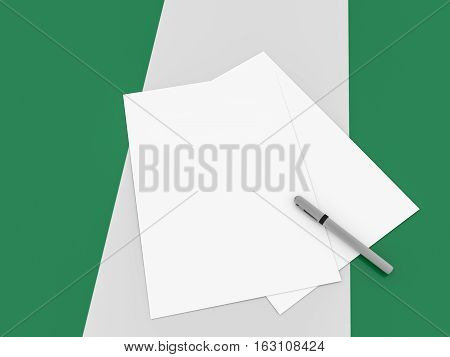 Notes On Nigeria: Blank Sheets of Paper With A Pen On Nigerian Flag 3d illustration