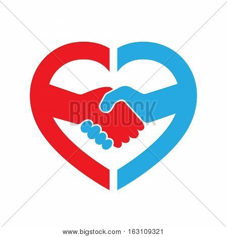 Abstract red and blue handshake icon. Handshake sign inside in the heart on white background. Vector illustration.