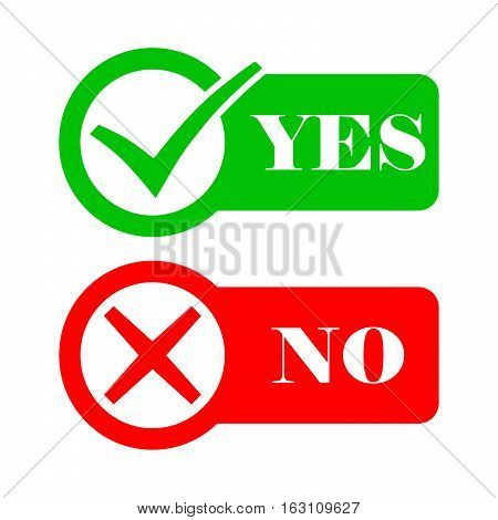 Yes and No check marks. Vector illustration. Red and gray check marks in circles on a white background.