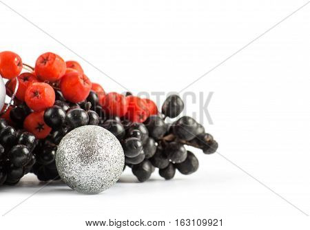 Ripe red and black rowan isolated on white background and christmas ball