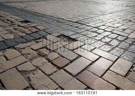 Old paving stones rsykschknnye light. Backgrounds and textures