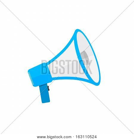 Loudspeaker or megaphone icon. Blue megaphone isolated on white background. Vector illustration