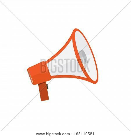 Loudspeaker or megaphone icon. Red megaphone isolated on white background. Vector illustration
