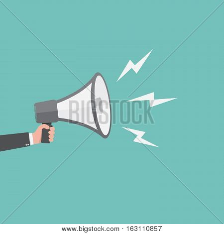 Loudspeaker or megaphone icon. Gray megaphone in hand on colored background. Vector illustration.