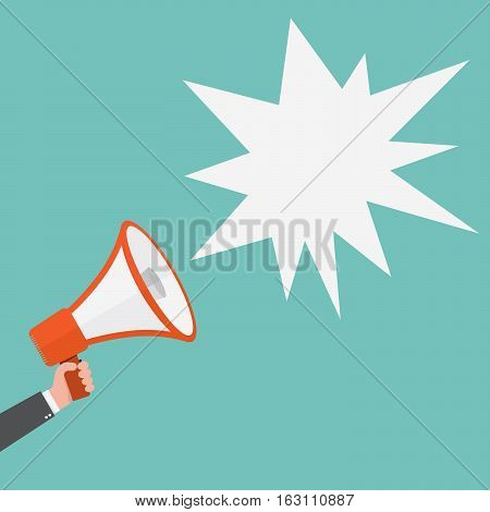 Loudspeaker or megaphone icon. Red megaphone in hand with abstract speech bubble on colored background. Vector illustration.