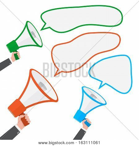 Loudspeaker or megaphone icon isolated on white background. Set of colored megaphones in hand with speech bubbles. Vector illustration.