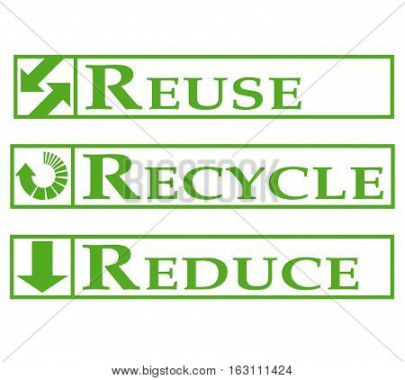 Reuse, recycle, reduce signs with a white background