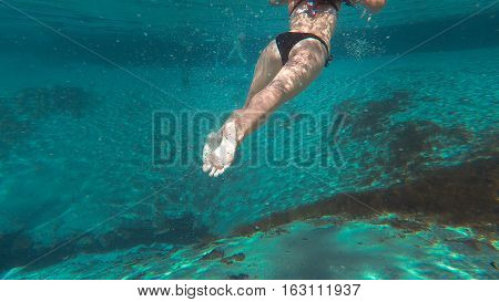 Atractive young woman snorkeling in Central Florida Springs