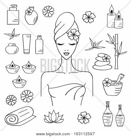 Vector illustrations of Beautiful woman spa treatment, beauty procedures, therapy, massage, wellness, spa hand drawn doodle icons, herbal cosmetics, aroma candles, stones, bamboo, towels