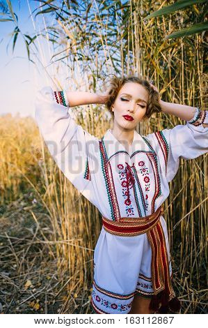 Young Girl On The Summer Field  In National Belarus Clothes, Fas