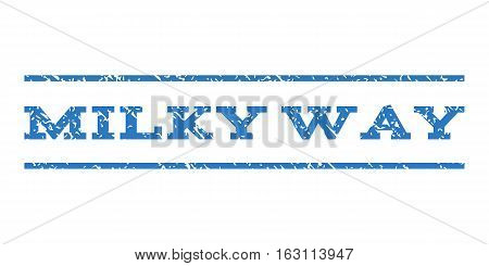Milky Way watermark stamp. Text tag between horizontal parallel lines with grunge design style. Rubber seal stamp with dust texture. Vector smooth blue color ink imprint on a white background.