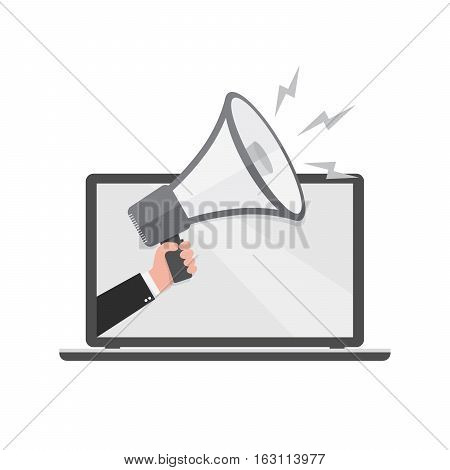 Loudspeaker or megaphone in the male hand coming out from screen of laptop. Gray megaphone and laptop isolated on white background. Vector illustration.