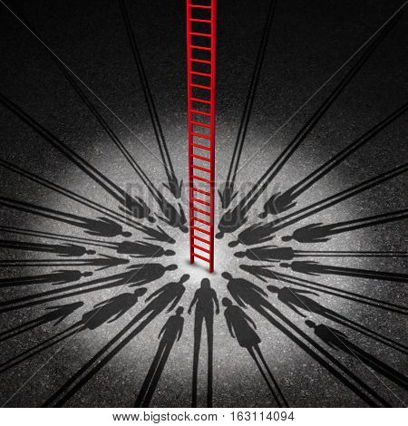 People opportunity concept and society or social opportunities as a red success ladder going up towards a community wish as the shadow of diverse men women and children with 3D illustration elements.