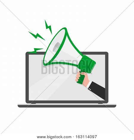 Loudspeaker or megaphone in the male hand coming out from screen of laptop. Green megaphone and laptop isolated on white background. Vector illustration.