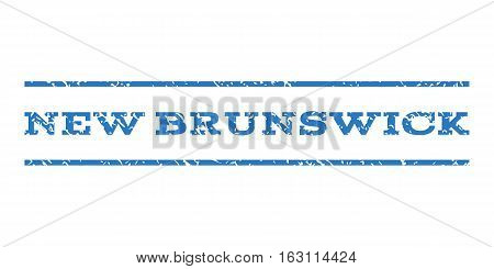 New Brunswick watermark stamp. Text tag between horizontal parallel lines with grunge design style. Rubber seal stamp with scratched texture.