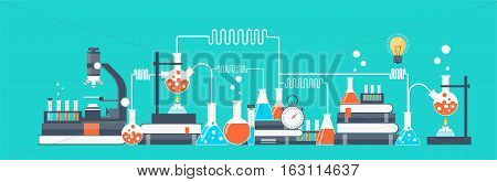 Vector illustration. Laboratory. Chemical research. Flat study background. Education and online courses. Creative process. Power of knowledge.Medicine.
