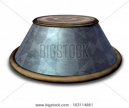 Circus stand podium stage object on a white background as a presentation or marketing symbol as a ringmaster carnival item for standing as a 3D illustration.