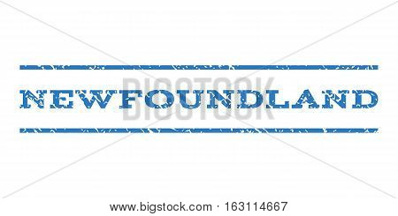 Newfoundland watermark stamp. Text caption between horizontal parallel lines with grunge design style. Rubber seal stamp with unclean texture.