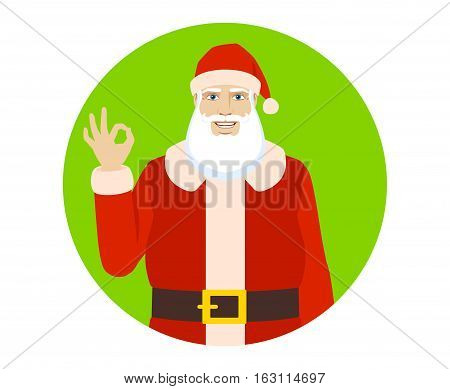 OK! Smiling Santa Claus show a okay hand sign. Portrait of Santa Claus in a flat style. Vector illustration.